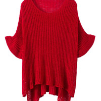Red Asymmetrical Sweater