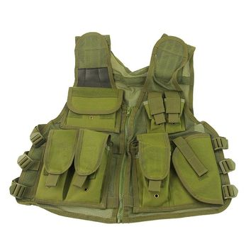 5Color! Military Tactical Vest Outdoor Sport Hunting Combat Airsoft Paintball Fishing Hiking Mesh Vest Gun Holster Pouch