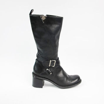 1990s Harley Davidson Boots Black Leather Biker Boots Vintage Motorcycle Boots Chunky Heel Boots Buckle Strap Boots Mid Calf Boots Size 6