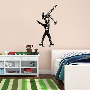 Vinyl Decal Sport Figure Skating Skaters Man And Woman Dancing On Ice Home Wall Decor Stylish Sticker Mural Unique Design for Any Room V776