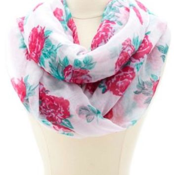 Floral Print Infinity Scarf by Charlotte Russe - Pink Multi