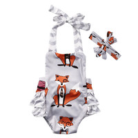 2Pcs Cute Baby Fox Brace Romper Newborn Boys Girls sleeveless Romper+Headband Newborn Set Outfits