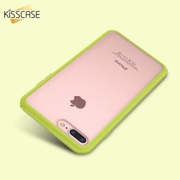 KISSCASE Slim Colorful TPU Frame Clear Case For iPhone 6 6S 7 Plus Transparent Matte Hard Phone Back Cover For iPhone 8 6S Plus