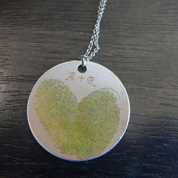 Lime Green Personalized Custom Engraved Fingerprint Heart Pendant Necklace, Great Birthday Gift, Chirstmas Gift, Memorial Jewelry
