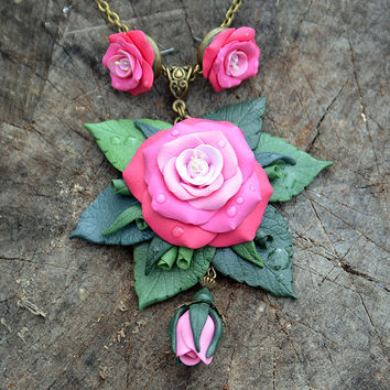 Pink Red rose Pendant Stud earrings Set Polymer clay jewelry Handmade floral jewelry Rose pendant Rose earrings