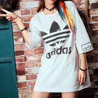 """Adidas"" Women Loose Casual Fashion Sequin Letter Pattern Print Short Sleeve T-shirt Mini Dress"