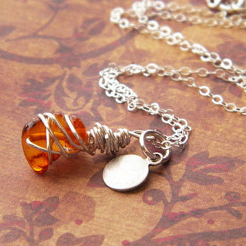Valentine's Day jewelry, Baltic amber necklace, personalized charm necklace, wire wrapped amber
