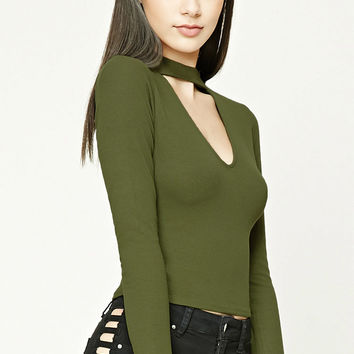 Mock-Neck Geo-Cutout Top