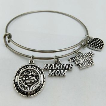 my shape  United States Marine Mom Charm Bangle Stainless Steel Metal Expandable Wire military Bangle Freedom Is Not Free
