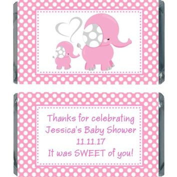 18 Pink Polka Dot Elephant Baby Shower Miniature Chocolate Bar Wrappers