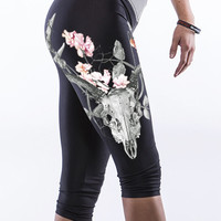 Floral + Skull Print Knee Length Leggings