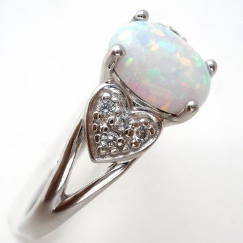 Opal & Diamond Ring Sterling Silver