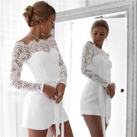 Lace Andrea Long-Sleeve Romper