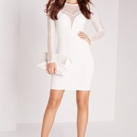 Missguided - Mesh Insert Long Sleeve Mini Dress White