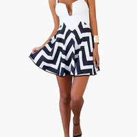 White and Navy Blue Geometric Print Cut-Out Strappy Back Mini Dress
