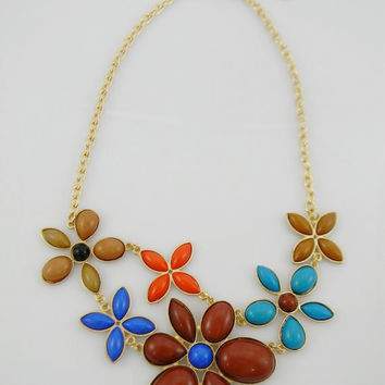 Big Daisies Flower Statement Necklace & Earrings Set - Bohemian / Hippie  Necklace and Earrings Brown Turquoise Orange Blue