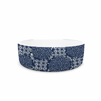 "Laura Nicholson ""Indigo Lattice"" Blue Pattern Pet Bowl"