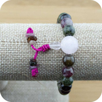 Multi-Colored Tourmaline Wrist Mala Bracelet with Rose Quartz