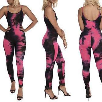 """Behold"" tie dye bodycon fashion jumpsuit"