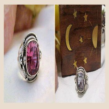 """Stone of Prosperity"" Alexandrite Sterling Silver Ring Size 7"