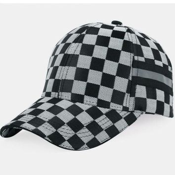Kalete Plaid Fashionable peaked cap male outdoor sports baseball cap lady summer sunshade sun hat""