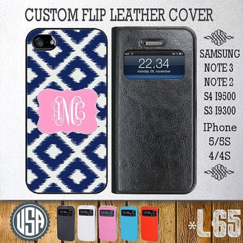 Personalized Monogram Flip Leather Cover @ Samsung Galaxy S4 Wallet Case S3 Samsung Note 3 Galaxy Note 2 IPhone 5 5S IPhone 4 4S Cover L65