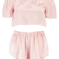 Elle Satin Bardot Bow Top & Short Set | Boohoo