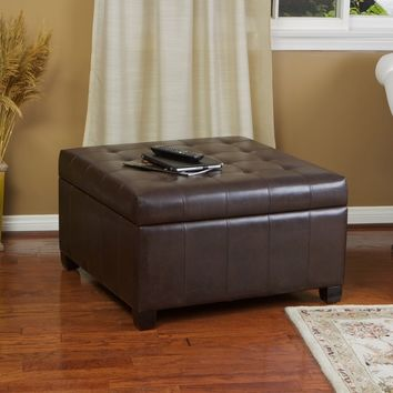 Christopher Knight Home Alexandria Brown Bonded Leather Storage Ottoman | Overstock.com Shopping - The Best Deals on Ottomans