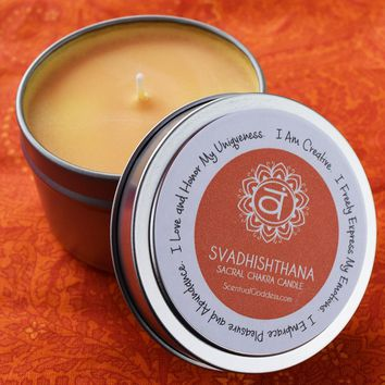 Svadhishthana Sacral Chakra Candle - Be Creative, Live with Passion, Embrace Your Divine Feminine Energy