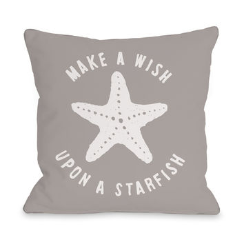 Make A Wish Starfish Throw Pillow by OneBellaCasa.com