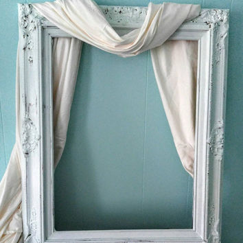 Ornate Frame Shabby Chic Picture Frame Large Baroque Collage Vanity Mirror Gesso Wedding Photo Prop 31 1/2 x 25 1/2""