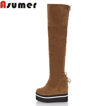 Big size 33-43 new arrive high quality nubuck leather over the knee boots wedges high heel autumn winter women boots