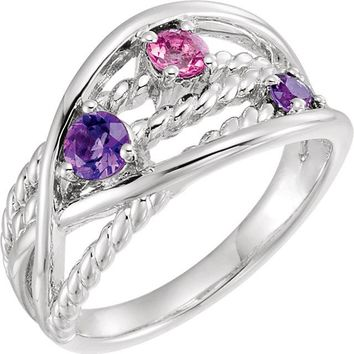 Sterling Silver Pink Tourmaline & Amethyst Criss-Cross Rope Ring