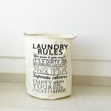 Laundry Rules Printed Cotton Cloth Storage Laundry bucket