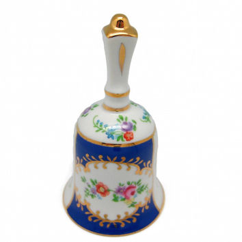 Vintage Victorian Antique Bell Jewelry Box Royal Blue
