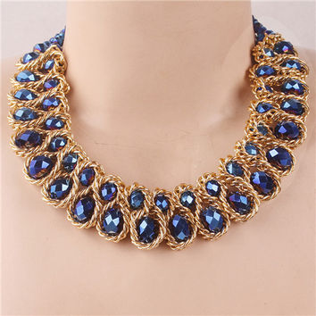 Luxury Jewelry Austrian Crystal Choker Necklace & Pendant Party Christmas Gift Best Friend For Women