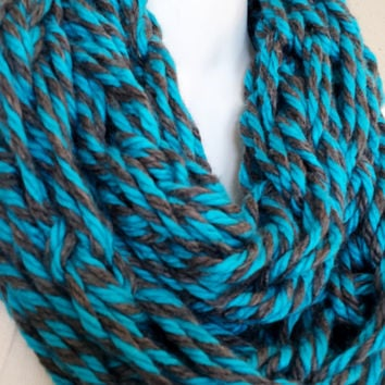 Peacock Blue & Charcoal Twirled Arm Knitted Infinity Scarf Womens Fashion Knitted Scarves Girls Knit Fall Cowl Arm Knitting Scarf