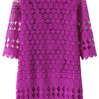 Purple Crochet Lace Mini Dress with Sleeve
