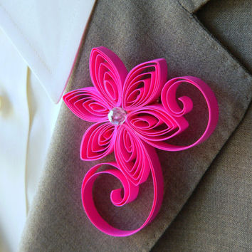 Neon Pink Boutonniere, Hot Pink Buttonhole, Neon Pink Wedding, Groomsman Gift