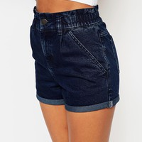 ASOS Denim Elasticated Mom Short in Dark Wash