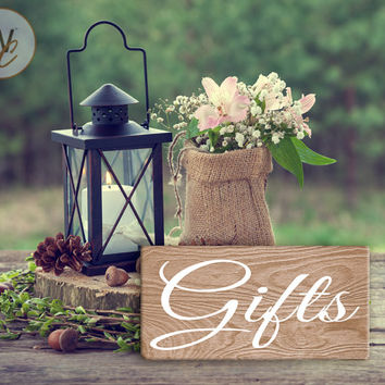 "Wedding Gifts Sign, Rustic Wedding Sign,  Weatherproof, 5"" x 10"" Sign, Gifts on Light Wood Grain For Gifts and Cards Table, Made To Order"