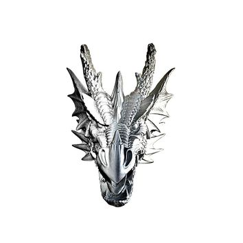 The Drogon | Large Dragon Head | Faux Taxidermy | Silver Resin