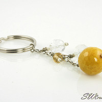 Goldenrod Yellow Crystal Beaded Keychain