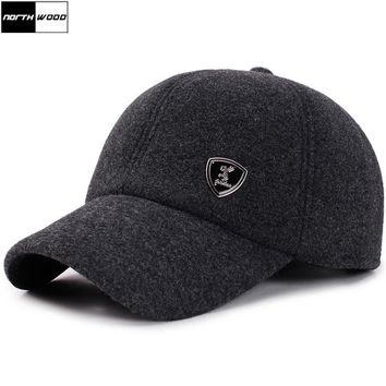 Trendy Winter Jacket [NORTHWOOD] Winter Baseball Cap Men Snapback Hat With Earflaps Gorras Para Hombre Solid Trucker Cap Casquette Homme Winter Caps AT_92_12