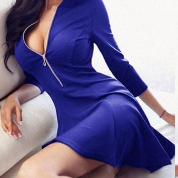 Slim Fit V-neck Zada Zipper Dress