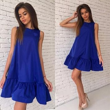 TEMOFON Summer Women Dresses Party Casual Cascading Ruffle Sexy Dress Vestidos Sleeveless Woman Beach Dress Solid Sundress ELD57