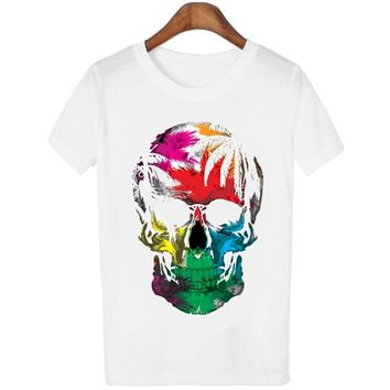 Women T-shirts Skull Print Gothic Fashion White O-neck Short Sleeves