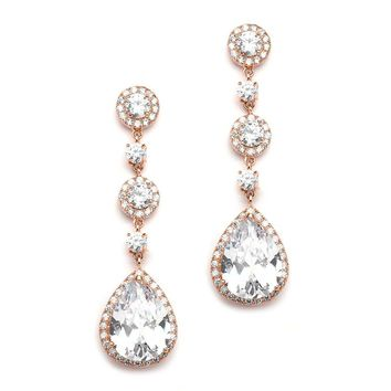 Rose Gold Vintage CZ Pear-Shaped Bridal Earrings with Pave Drops- Clip On