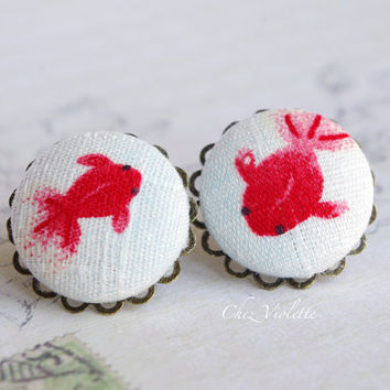 Koi Fish studs, White Red earrings, Japan earring, Fabric posts,  Button earrings - medium size