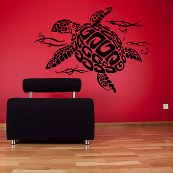 Wall Decal Vinyl Sticker Decals Art Home Decor Design Mural Turtle Tortoise Tortoiseshell Water Sea Animal Swim Fashion Bedroom Dorm AN69